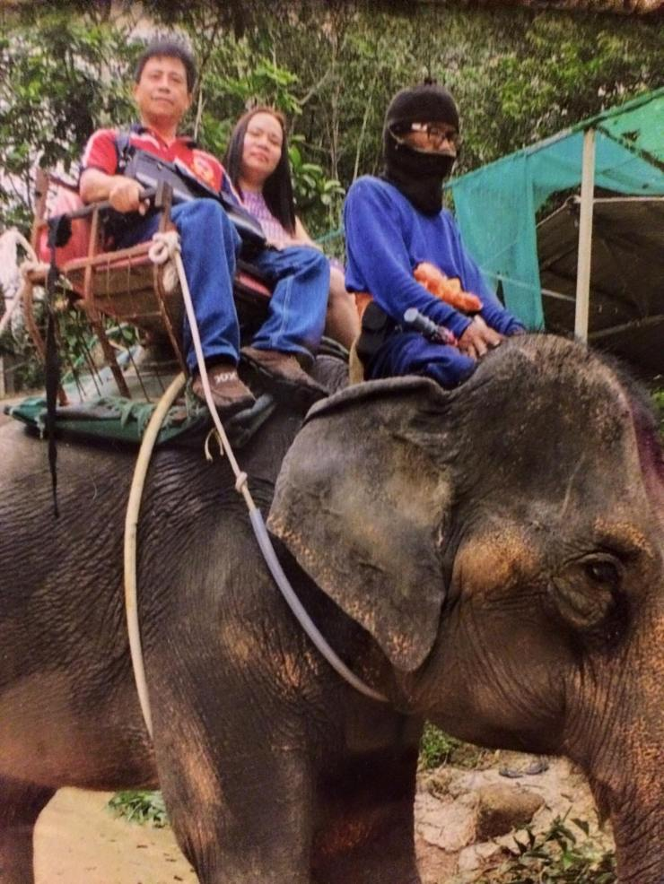 Elephant ride with Rose in Thailand